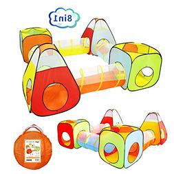 Yoobe 8pc Children Play Tent and Tunnel, Indoor & Outdoor Ch