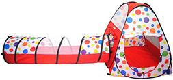 eWonderWorld Polka Dot Teepee Ball Tent House w/ Tunnel & Sa