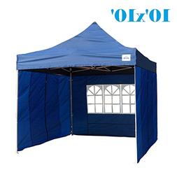 10'x10' Pop up 4 Wall Canopy Party Tent Gazebo EZ Navy Blue