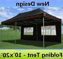 10' x 20' Pop Up Canopy Party Tent Gazebo EZ - Black Flame -