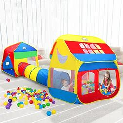 Pop-up Play Tent with Crawl Tunnel , 3-in-1 Playhouse Tents