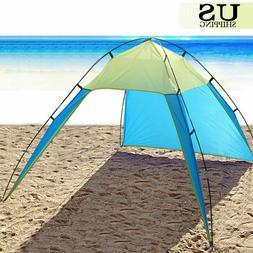 Portable Beach Canopy Sun Shade Triangle Patchwork Tent Shel