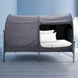 Portable Bed Canopy Privacy Tent Full Size Curtains Gray Cot