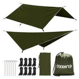 Enkeeo Portable Camping Hiking Army Green Tent Tarp SPF 50 W