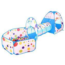 Portable Kids Indoor Outdoor Play Tent Crawl Tunnel Set 3 in