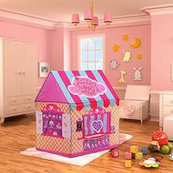 Aissimio Portable Kids Tent Girl Pop Up Outdoor Indoor Cotta