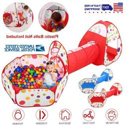 Portable Toddler Kids Play Tent House Crawl Tunnel 3 in 1 Ba