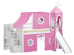 JACKPOT! Princess Low Loft Stairway Bed with Slide Pink & Wh