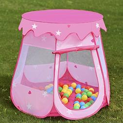 COSTWAY Kids Princess Play Tent Playhouse w/ 100 Ocean Balls