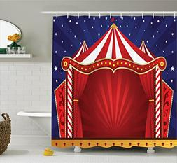 Red Shower Curtain Circus Decor by Ambesonne, Canvas Tent Ci