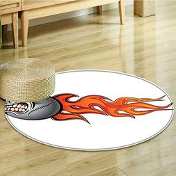 Small round rug Carpet Sports Flaming Angry Baseball Aggress