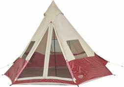 Wenzel Shenanigan 5 Person Tent Red  3 Zippered Windows And T Style Door NEW