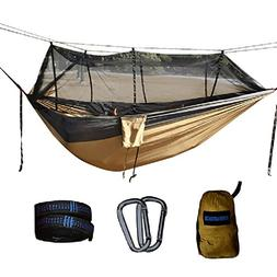 Single & Double Camping Hammock With Mosquito/Bug Net & Hamm