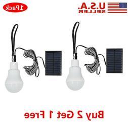 Solar Panel Powered LED Bulb Lamp Portable Camp Tent Fishing