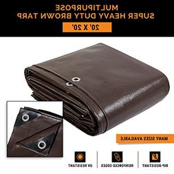 20' x 20' Super Heavy Duty 16 Mil Brown Poly Tarp Cover - Th