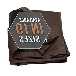 Tarp Cover Brown/Black Heavy Duty 16'X20' Thick Material, Wa