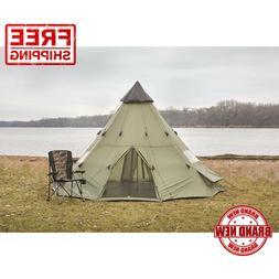 Teepee Tent 14' x 14' Sleeps 8 People Green Army Surplus Wit