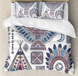 Ambesonne Tribal Duvet Cover Set Queen Size, Ethnic Teepee T