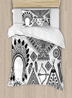 Ambesonne Tribal Duvet Cover Set Twin Size, Native American