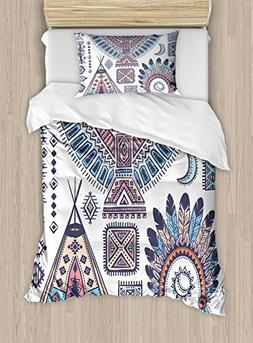 Ambesonne Tribal Duvet Cover Set Twin Size, Ethnic Teepee Te