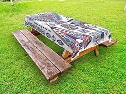 Ambesonne Tribal Outdoor Tablecloth, Ethnic Teepee Tents Eag