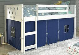 Donco Kids 721800 79 in. Twin Circles Low Loft Bed Tent, Blu