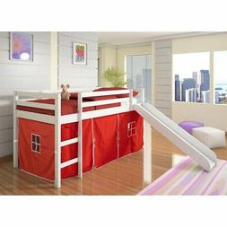 Donco Kids Twin Loft Tent Bed with Slide - White