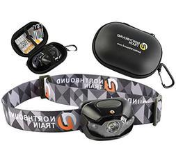 Ultra-Bright LED Headlamp Flashlight Plus Hard Case for Runn