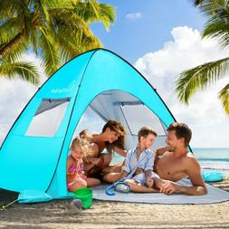 WolfWise UPF 50+ Easy Pop Up 3-4 Person Beach Tent Sun Shelt