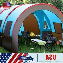 US 8-10 People Big Outdoor Tunnel Tent Waterproof Travel Cam
