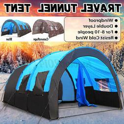 US 8-10 Person Super Big Camping Tent Waterproof Outdoor Hik