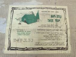 Vintage 1950s Lite-Pak Sky Proof Tent Hunter Hunting Canvas