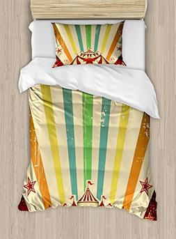 Ambesonne Vintage Rainbow Twin Size Duvet Cover Set, Old Cir