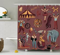Vintage Shower Curtain by Ambesonne, Retro Circus Print with